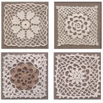 Four Crochet Lace Flower Motifs