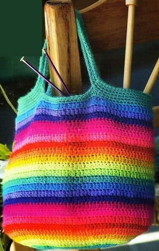 Colorful Striped Crochet Tote