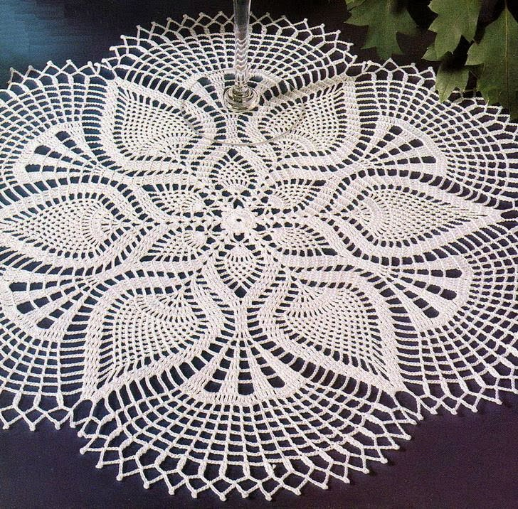 Crochet Pattern Of Beautiful Lace Doily Using White Cotton Thread ...