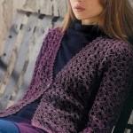 Purple Openwork Crochet Pattern Cardi