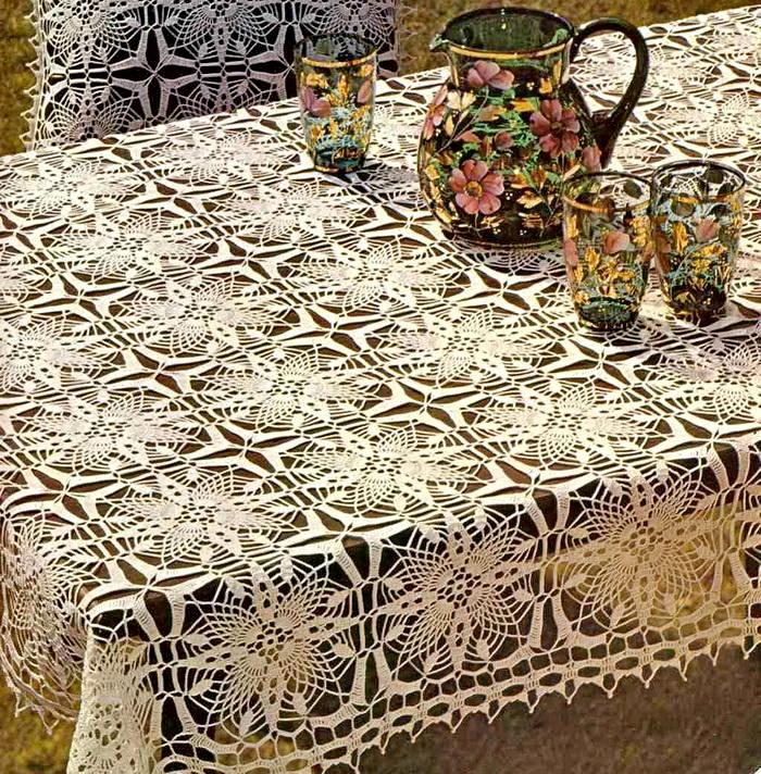 Tablecloth And Pillow Cover - Crochet Tablecloth Free Pattern ...