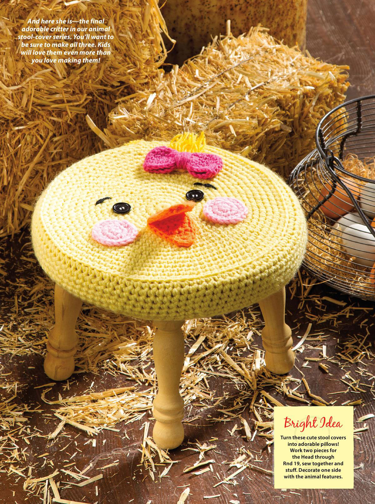 Farm Animal Stools Crochet Cover ⋆ Crochet Kingdom