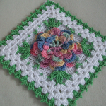 Big Crochet Square with Flower Free