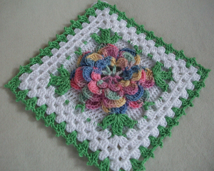 big square with flower crochet