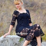 Black Lace Circle Motif Crochet Dress