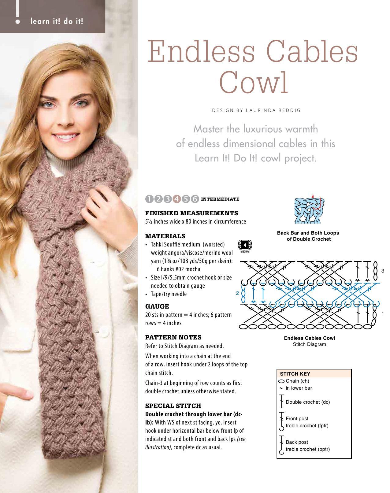 crochet cables cowl