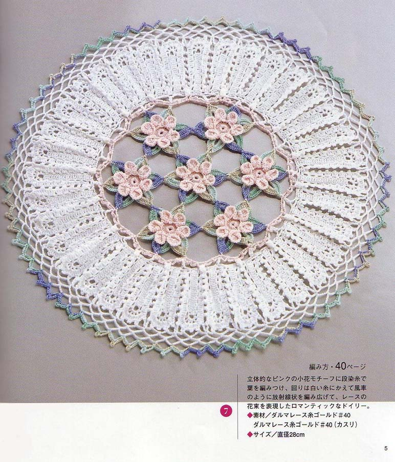 Crochet Patterns : Circular Doily with Flowers Crochet Pattern ? Crochet Kingdom