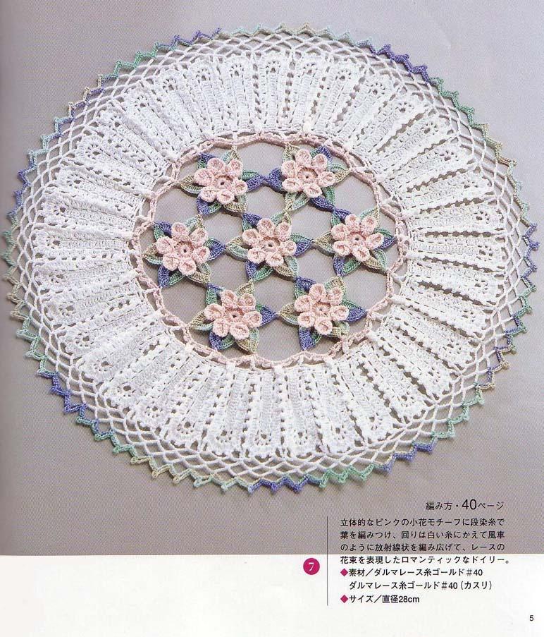 Circular doily with flowers crochet pattern crochet kingdom