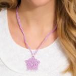 Flower Pendant Crochet Necklace