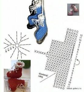 crochet ice skates ornaments