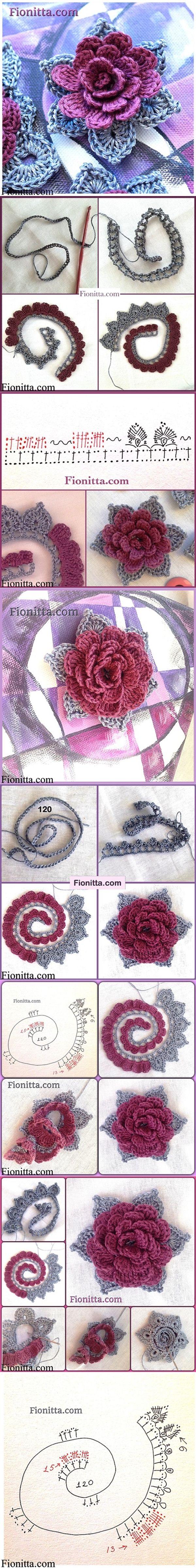crochet rose 3d