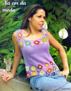 crochet tank with squares