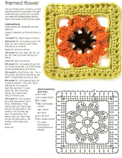 framed flower crochet