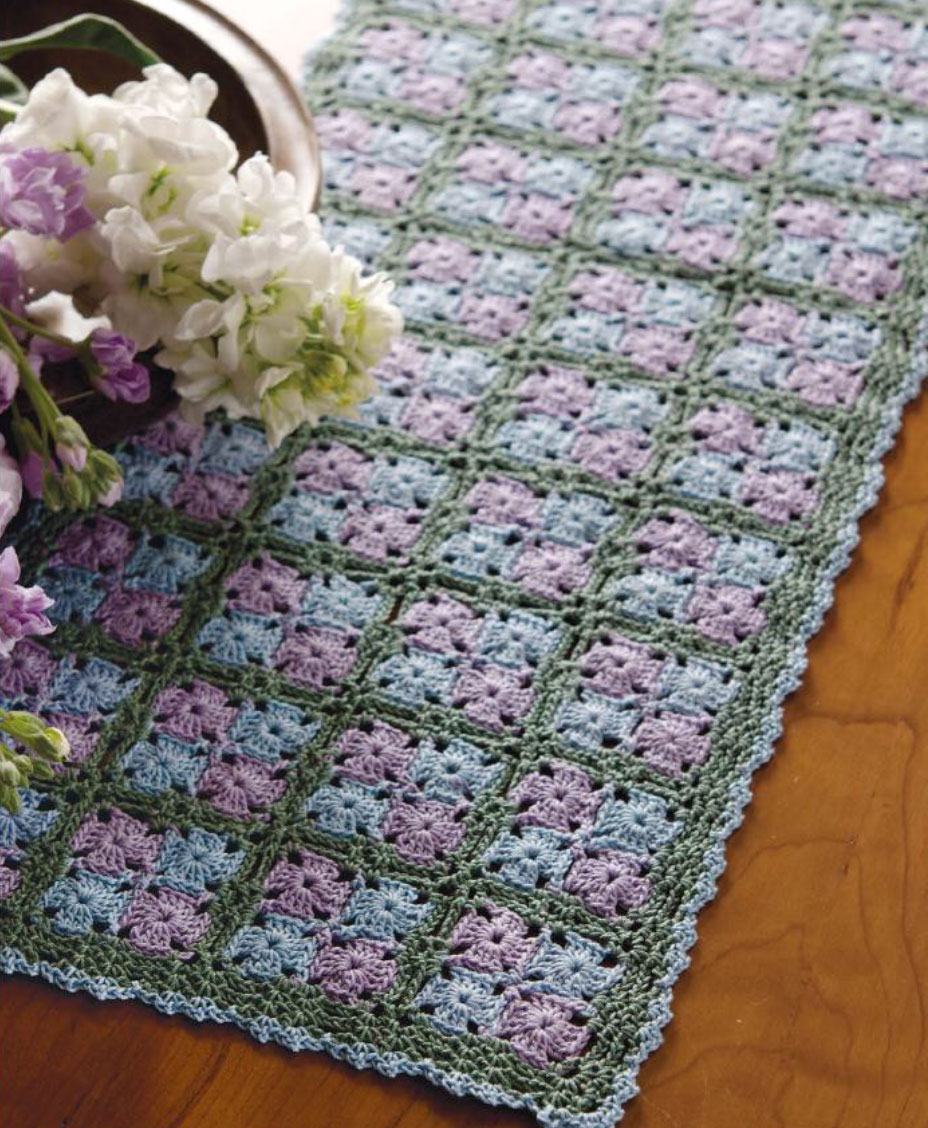 Free Crochet Pattern Flower Table Runner : Tiny Granny Table Runner Crochet Pattern ? Crochet Kingdom