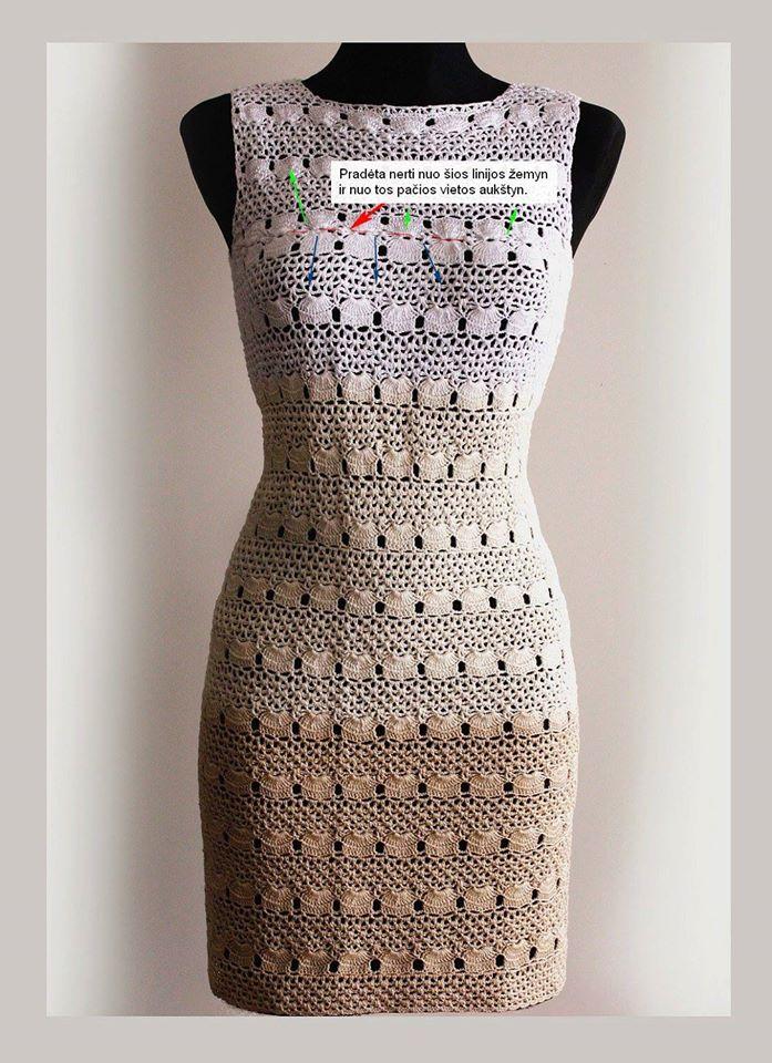 Mesh And Fan Crochet Dress ⋆ Crochet Kingdom