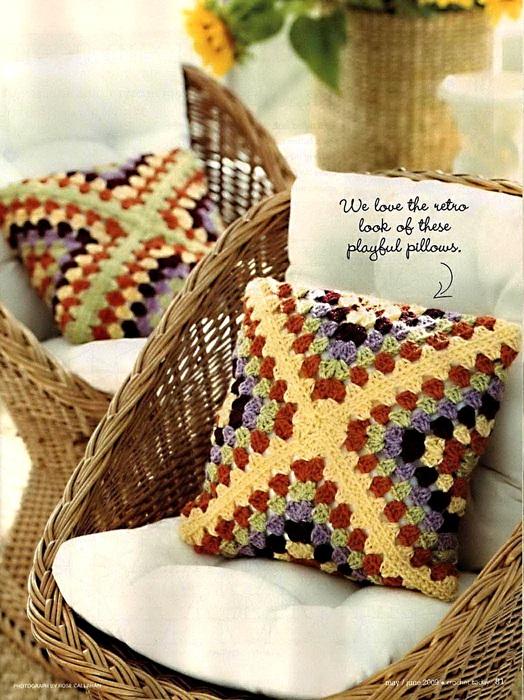 retro granny crocht pillow pattern