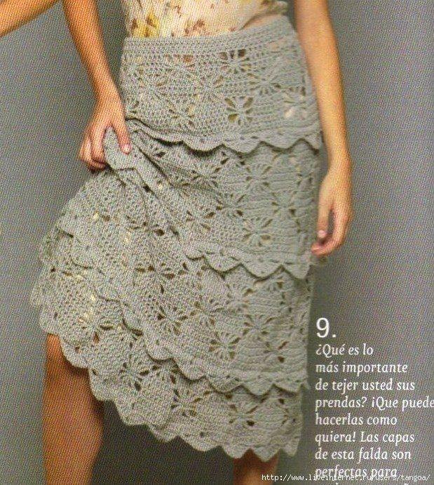 ruffled crochet skirt