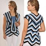 Striped and Sleeveless Crochet Cardigan Pattern