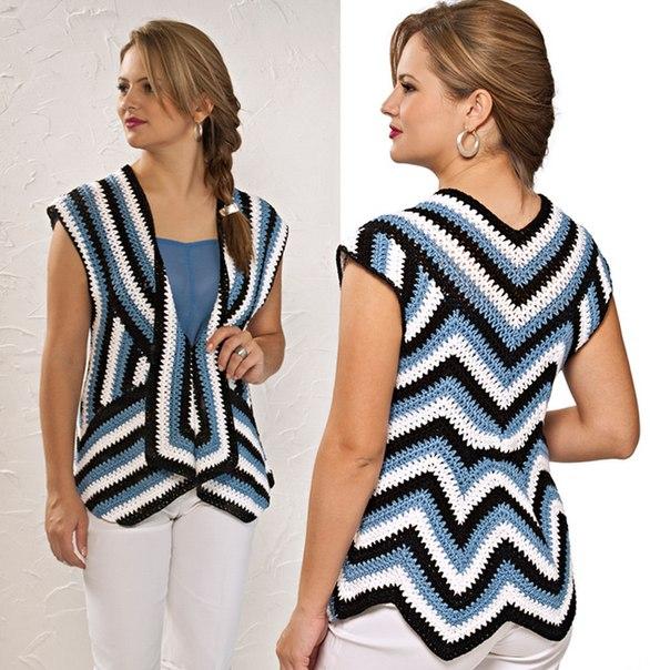 striped sleeveless crochet cardigan pattern