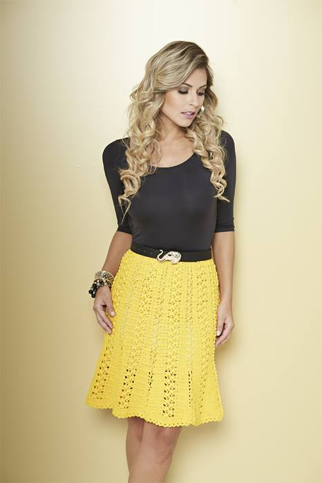 yellow crochet skirt lace