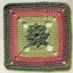 Tri-Colored Crochet Square