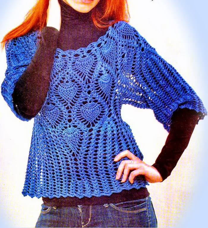 Lace And Pineapple Crochet Lace Sweater ⋆ Crochet Kingdom