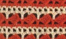 Red and White Diagonal Block Stitch Crochet