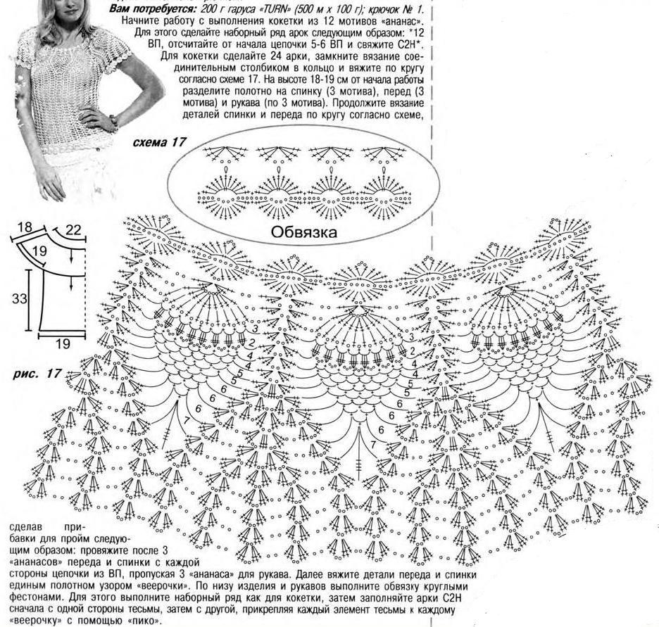 Платье крючком узором ананас схема фото 714