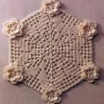 Hexagonal Doily with Flowers