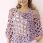Crochet Poncho with Flowers