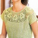 Crochet Short Sleeve Top with Yoke
