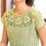 Crochet Short Sleeve Top with Yoke