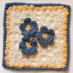 Crochet Square with Three Flowers