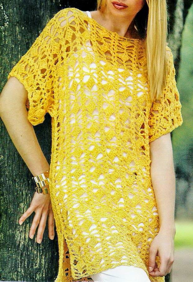 Yellow Crochet Tunic Crochet Kingdom