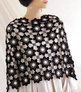 flower motif shawl crochet free pattern