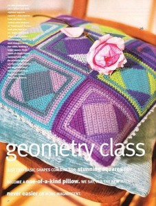 geometric crochet pillow