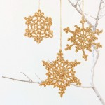 Gold Snowflake Crochet Christmas Ornament