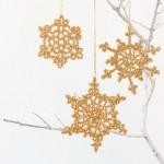 Gold Snowflake Crochet Christmas Ornament