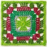 Green and Red Crochet Square