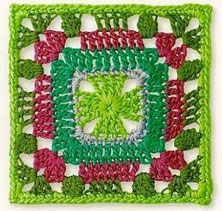 green-and-red-crochet-square