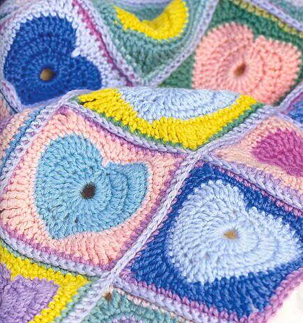 Heart Motif Crochet Baby Blanket