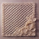 Square Lace Mesh with Flowers