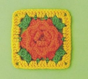 rose in a aquare crochet