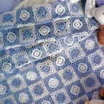 White and Blue Lace Square Afghan Pattern