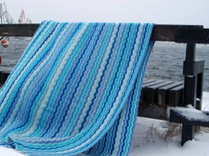 blue waves crochet blanket