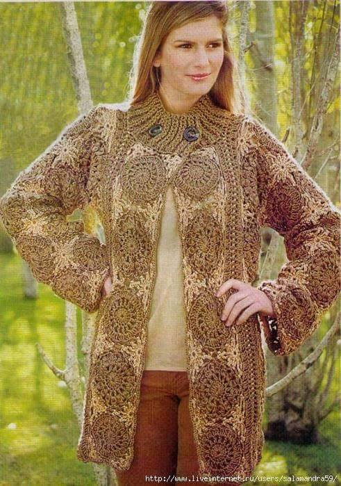 Russian Pattern With Diagram With Circle Motif Crochet Cardigan Impressive Crochet Long Cardigan Pattern