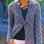 Crochet Cardigan with Diamond Argyle Stitch