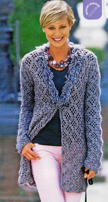 Free Crochet Cardigan Pattern With A Diamond Stitch Archives