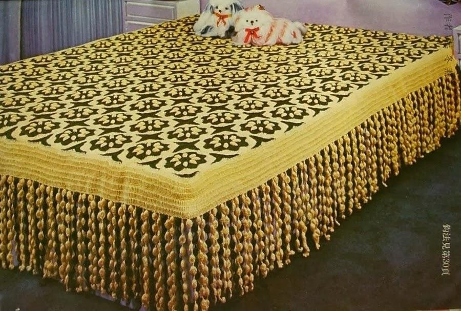Crochet Bedspread Flower Motif With Fringing Crochet Kingdom