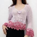 Flowers and Mesh Crochet Cardigan Pattern